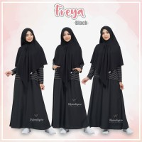 URFIMUTIYARO FREYA DRESS BLACK GAMIS ONLY TOYOBO MIX BABY TERRY adem
