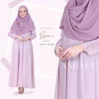 Syera Dress SOFT PINK XL by Amima Gamis Only katun madina adem polos