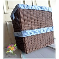 Rotan Box Storage - Dark Brown Lapis Kain Motif Warna Biru Muda Piknik