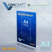 HOT SALE Signage Display/Stand Acrylic/Akrilik Model T - A4 Dua Sisi