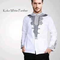 Baju Koko Panther Pria - Pakaian Muslim Cowok Warna Hitam Putih Ukuran