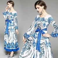 BAJUKIDDIE DOLCE GABBANA MAXI DRESS BLUE . GAUN GAMIS PESTA BRANDED