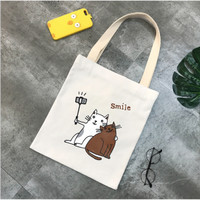Tas Tote Bag Kanvas Tebal Fashion Korea Karikatur Cat selfie etc