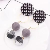 Anting Korea Cross Border Buttons Long Earrings DES395