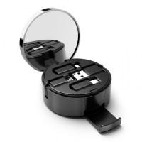 OATBASF 3 in 1 Retractable Data Charging Cable Powder Box Mirror - 1M