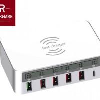 ROCKWARE WLX-818F - 5 Fast Charging USB and 1 USB Type-C LED Display