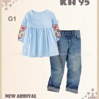 Setelan Anak / Kemeja Anak / Jeans Anak - KH 95 BIRU (2-7