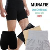 Termurah Munafie Unisex Slimming Boxer Original Tebal - Hitam