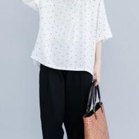 Favorite Women Polka Dot Print O-neck Short Sleeve