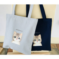 Tas Tote Bag Kanvas Tebal Fashion Korea Karikatur Cat Meow
