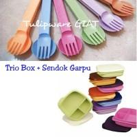 Set Bekal Cantik Bersekat 3 Twin Tulipware GRATIS Sendok Garpu