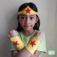 Tiara Gelang Wonder Woman flanel. Kostum Superhero DC.