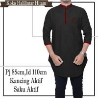 Harga baju kemeja muslim pria koko halilintar hitam fashion cowok | antitipu.com
