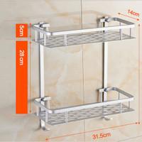 New 268 Rak Dinding Aluminium serbaguna 2susun size 31,5x14x16cm