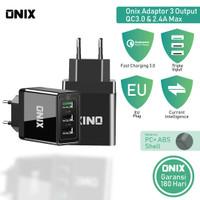 Onix Adaptor Charger PTC Tri - 3 Port USB Support QC 3.0 & Output 2.4A