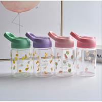 Botol Gelas dengan Sedotan Botol Motif kaca Botol Minum Anak - TBR013