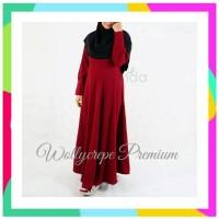 AJ ORIGINAL Dress Gamis Irnanda Wollycrepe PREMIUM Ziper Tangan Reslet
