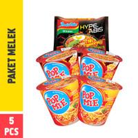 Pop Mie Paket Melek 4pcs 300gr - GRATIS Indomie Ayam Geprek