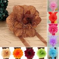 Jepit Pengikat Tirai/Gorden Bentuk Bunga Peony Bahan Kain Lace