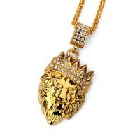 Hip Hop Fashion Gold Chain King Crown Lion Head Pendant Necklace