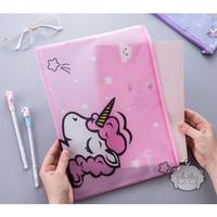 PF08 Transparan Unicorn and Flamingo A4 Stationery File Storage pouch