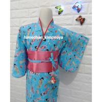 Kimono Anak Biru Motif Boneka Jepang M