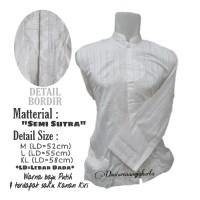 Baju Koko Dewasa Putih Premium Semi Sutra