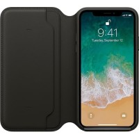 Apple iPhone XS Leather Case Folio - Black