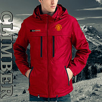 Jaket Tracker Bola MU red water proof # non celana pendek