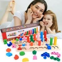 Mainan Edukasi Anak Puzzle montesori Ring dan angka Digital