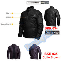 BEST SELLER Jaket Kulit Pria Kasual Bikers 034