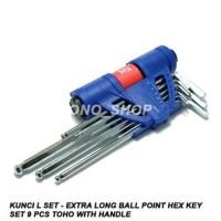 TERLARIS Kunci L Set Extra Long Ball Point Hex Key Set 9 Pcs Toho
