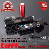 PAKET Senter LED Cree Laser E17 XM-L T6 2000 Lumens BATERAI + CHARGER