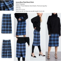 25229 Blue Plaid Pencil Skirt