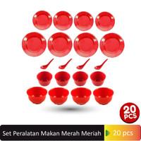 Glori Melamine Set Peralatan Makan 20 Pcs Merah Meriah