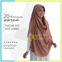 Jilbab Pashmina Instan Pet Size JUMBO Bahan Pastan Diamon Crepe