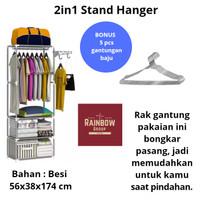 Rak pakaian Rak gantung pakaian Rak tas Hanger 2in1 Rak besi