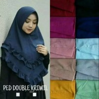Hijab Instan Pad Double Rempel Jilbab Wolfis Khimar 2 Layer Kriwil OKE