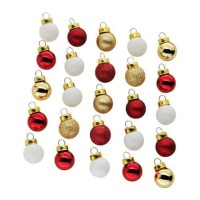 IKEA VINTER 2017 Bola / Bauble Dekorasi Pohon Natal - Kaca- merah emas
