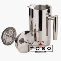 Double Wall Coffee Plunger Stainless French Press Coffee Tea Pot 800ml