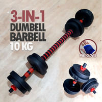 Dumbell Barbell Set 3 in 1 10KG - Dumbel Barbel