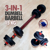 Dumbell Barbell Set 3 in 1 15KG - Dumbel Barbel