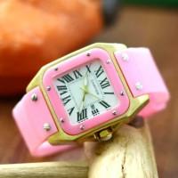 Jam Tangan Wanita / Cartier HC0237 + Box Eks + Batre Cadangan - HITAM ROSE