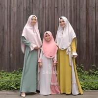 Setelan Baju Muslim shqBUNAI Syari Couple Ibu anak moscrepe Termurah