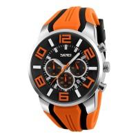 SKMEI 9128 Chronograph Sport Men Wrist Watch Silicone Strap