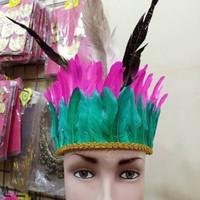 Topi Bulu Adat Dayak papua kostum kepala kartinian karnaval nusantara