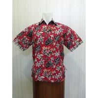 Arcobaleno SP448 Hem Batik Pria Lengan Pendek Motif Kuncup Bunga Merah