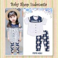 Setelan Baju Anak Import Baju Model Korea Blouse Off Shoulder Stripe