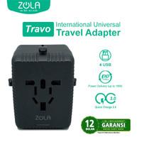 ZOLA Travo Universal Charger 3 Usb Dan 1 type C Output PD 18W, QC 3.0 -