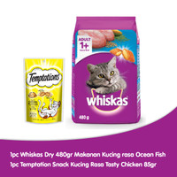 [Hot List] Whiskas Dry 480gr rasa Ocean Fish + 1 Temptations Chicken